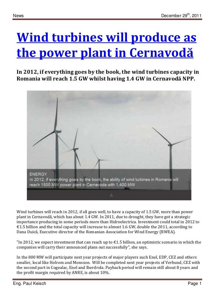 News                                                                            December 29th, 2011 Wind turbines will pro...