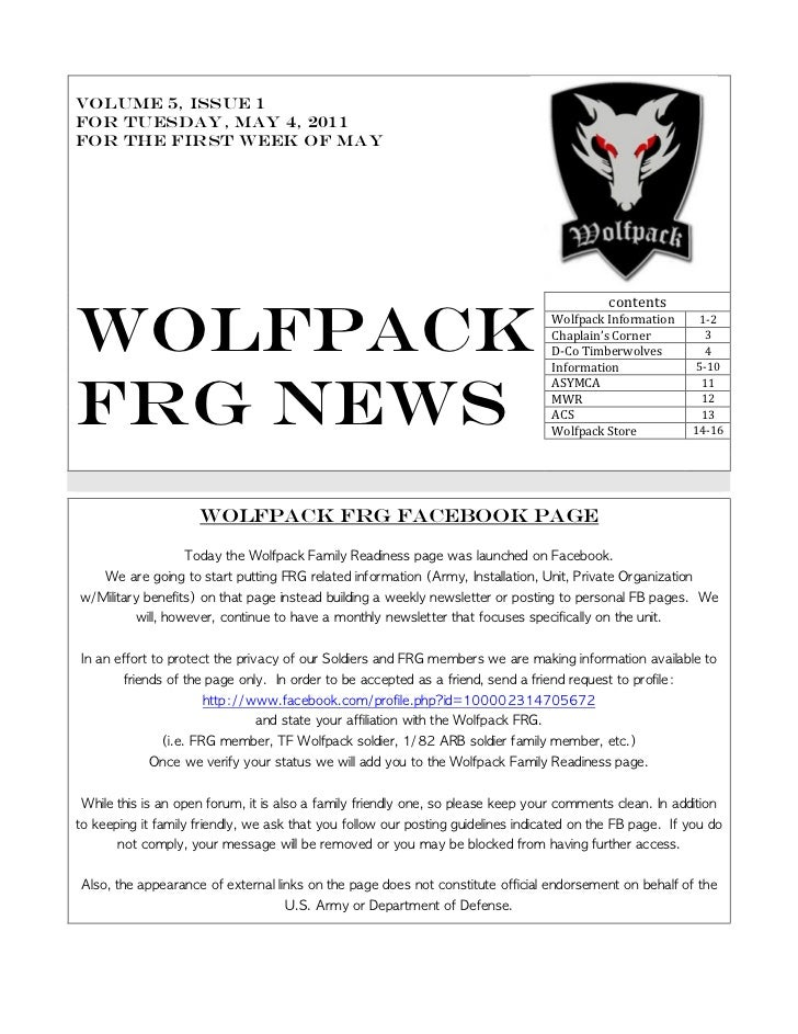 Volume 5, issue 1For Tuesday, MAY 4, 2011For the First Week of May                                                        ...