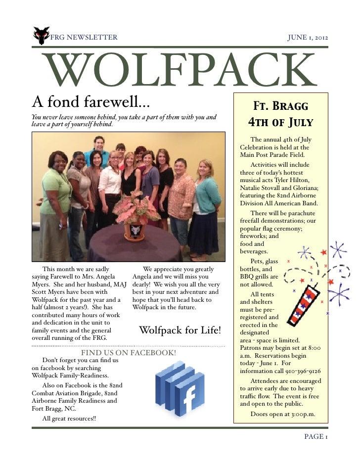 FRG NEWSLETTER!                                                                    JUNE 1, 2012    WOLFPACKA fond farewell...