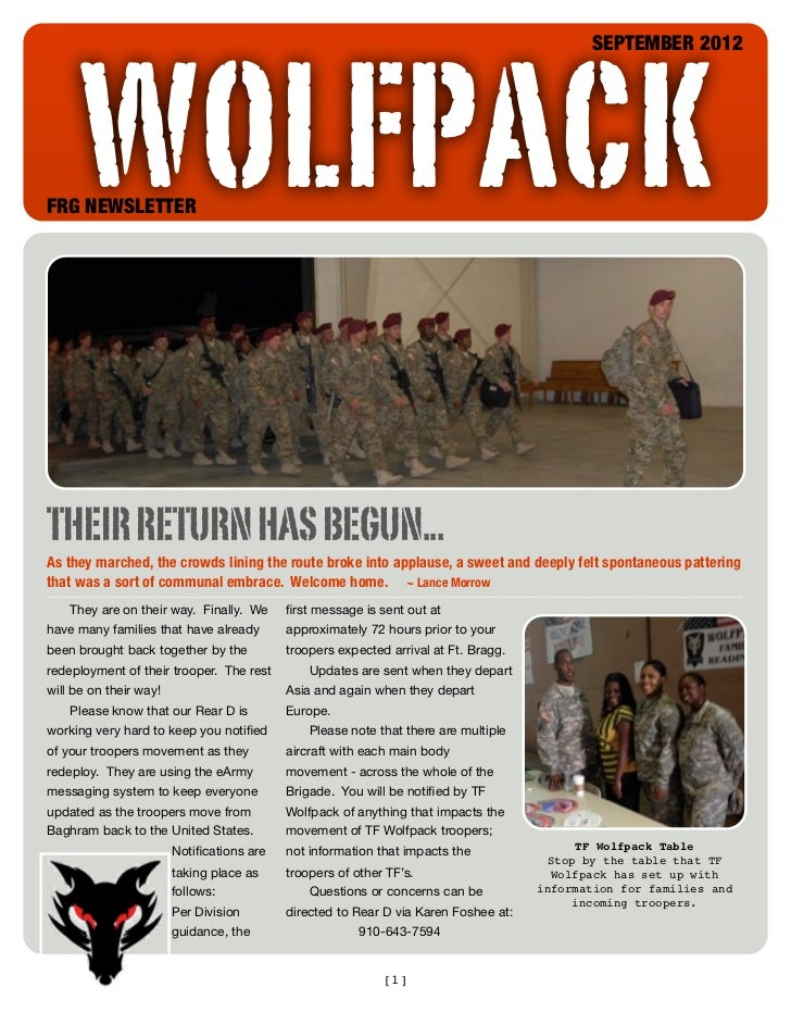 WOLFPACK                                                                                           SEPTEMBER 2012FRG NEWSL...