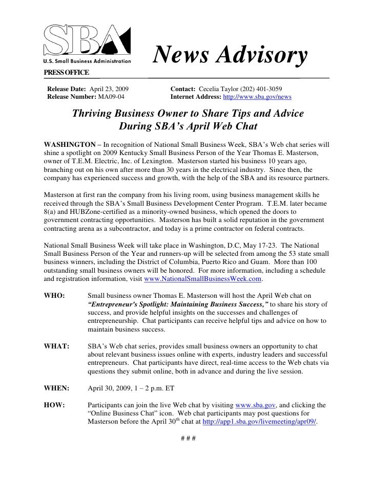 News Advisory PRESS OFFICE   Release Date: April 23, 2009             Contact: Cecelia Taylor (202) 401-3059  Release Numb...