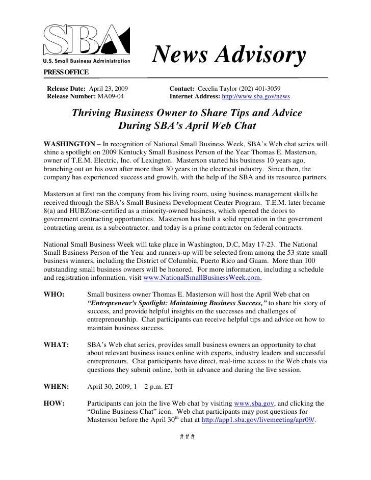 SBA News Advisory Apr 23