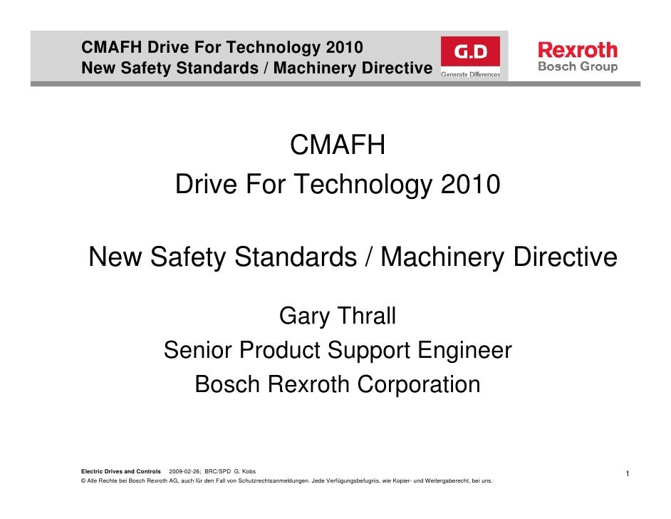New Safety Standards Machinery Directive