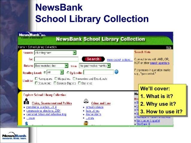 NewsBank School Library Collection  K)a'IIWuuc.  ewsaan cho'o1 ibra o1Iecti  >n: m'+ ' '—. ;' an-: « -Ib ax '. I1I| -L-IZI...