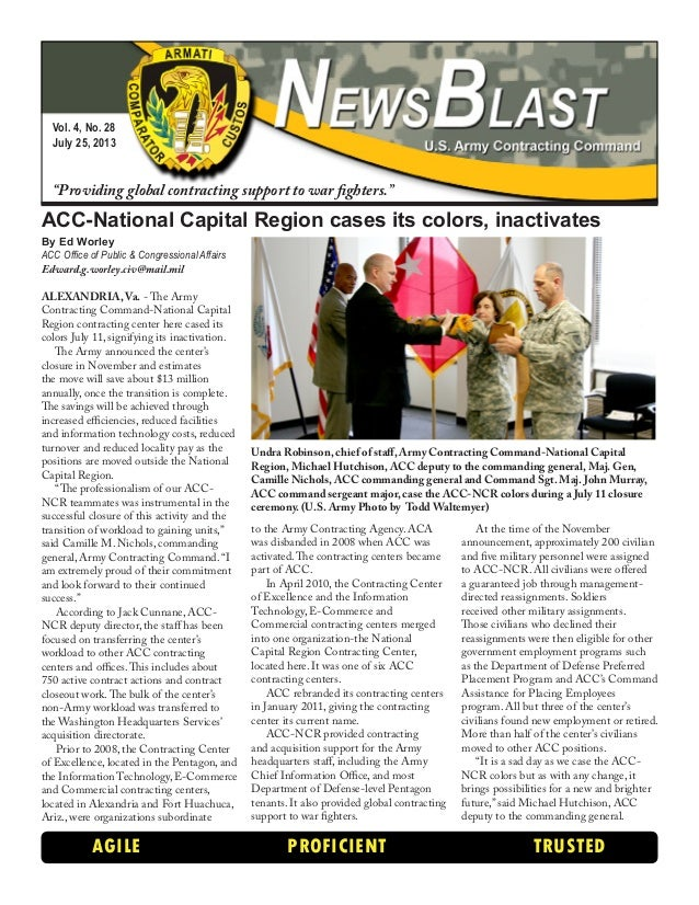 """Vol. 4, No. 28 July 25, 2013 """"Providing global contracting support to war fighters."""" AGILE PROFICIENT TRUSTED ACC-National..."""
