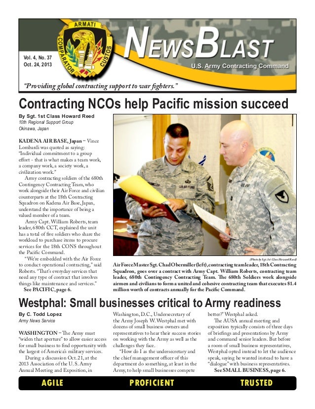 "Vol. 4, No. 37 Oct. 24, 2013  ""Providing global contracting support to war fighters.""  Contracting NCOs help Pacific missi..."
