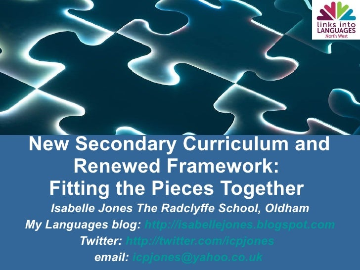 New Secondary Curriculum and Renewed Framework:  Fitting the Pieces Together  Isabelle Jones The Radclyffe School, Oldham ...
