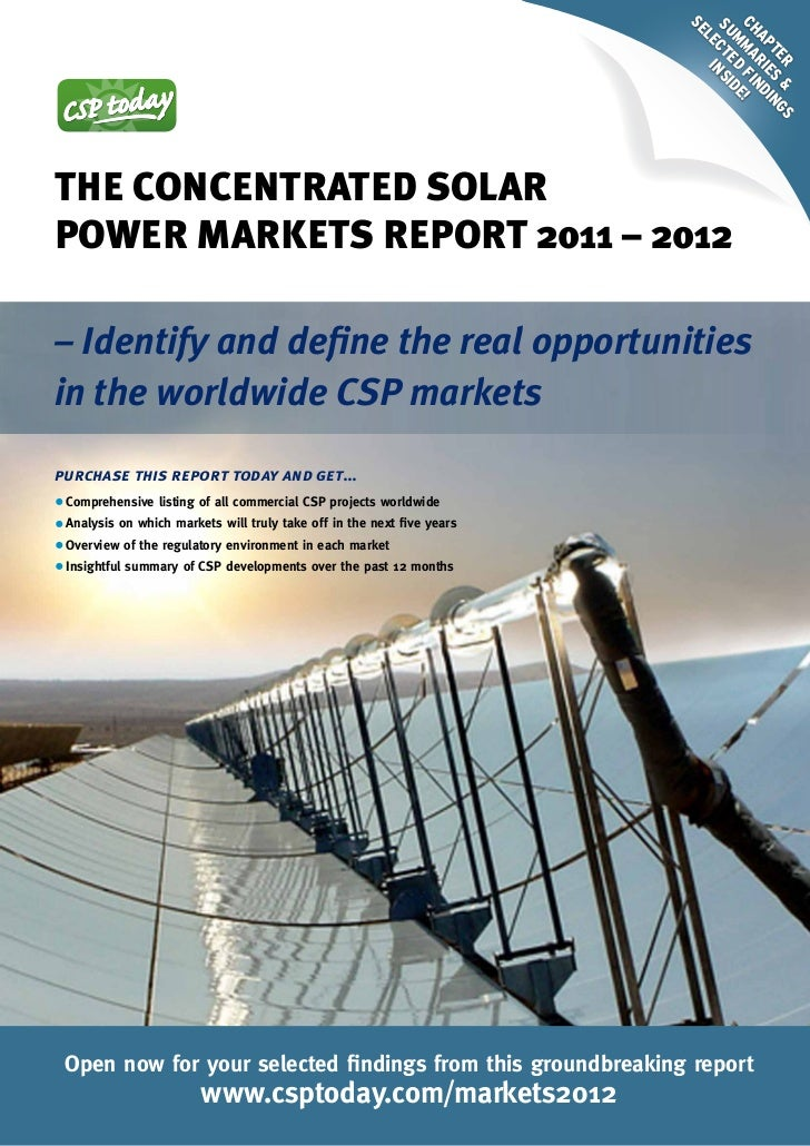 CSP Markets Report - New Edition 2012 (selected findings)