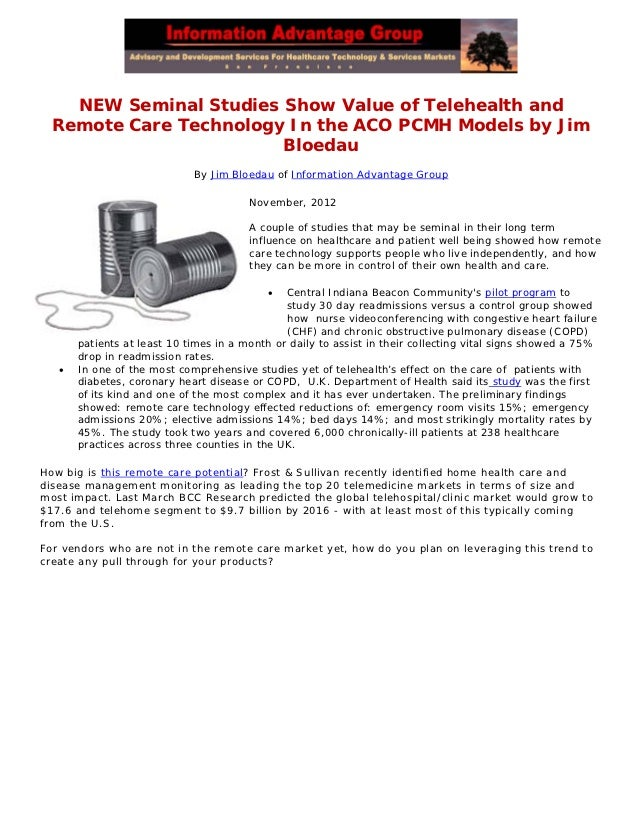 NEW Seminal Studies Show Value of Telehealth and  Remote Care Technology In the ACO PCMH Models by Jim                    ...
