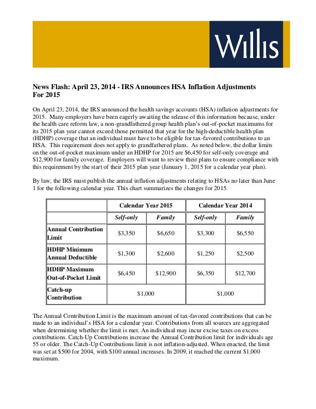 News Flash April 23 2014 - IRS Announces HSA Inflation Adjustments For 2015
