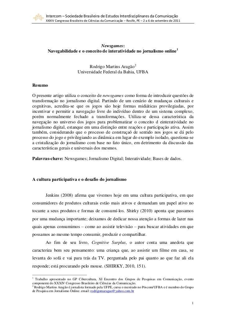 Newsgames   navegabilidade e e o conceito de inter