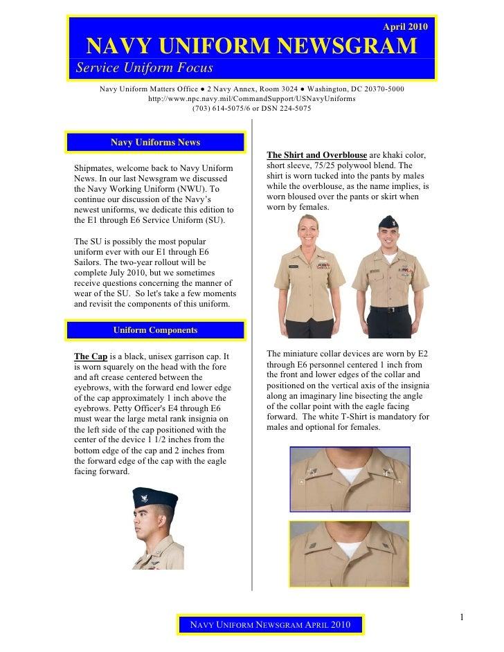 April 2010     NAVY UNIFORM NEWSGRAM Service Uniform Focus        Navy Uniform Matters Office ● 2 Navy Annex, Room 3024 ● ...