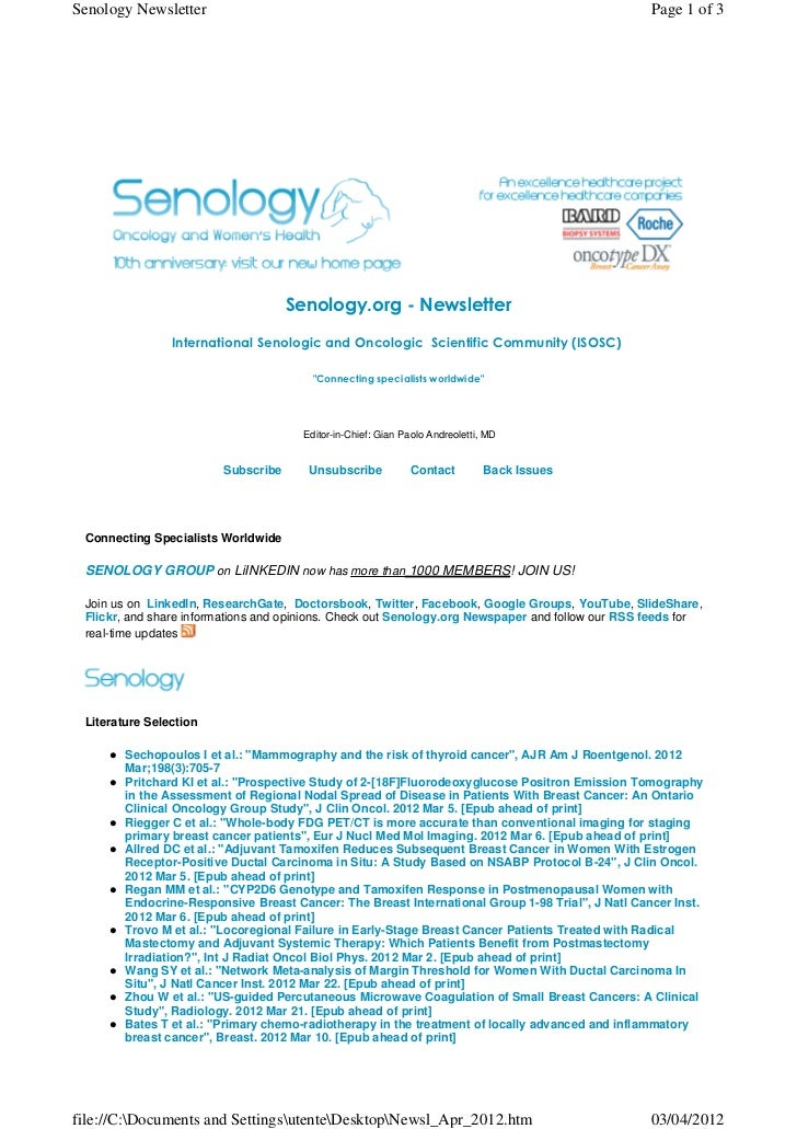 Senology.org Newsletter - April 3, 2012