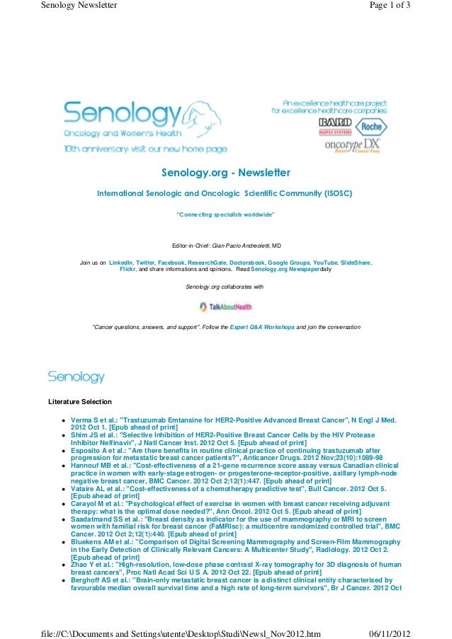 Senology Newsletter - November 6, 2012