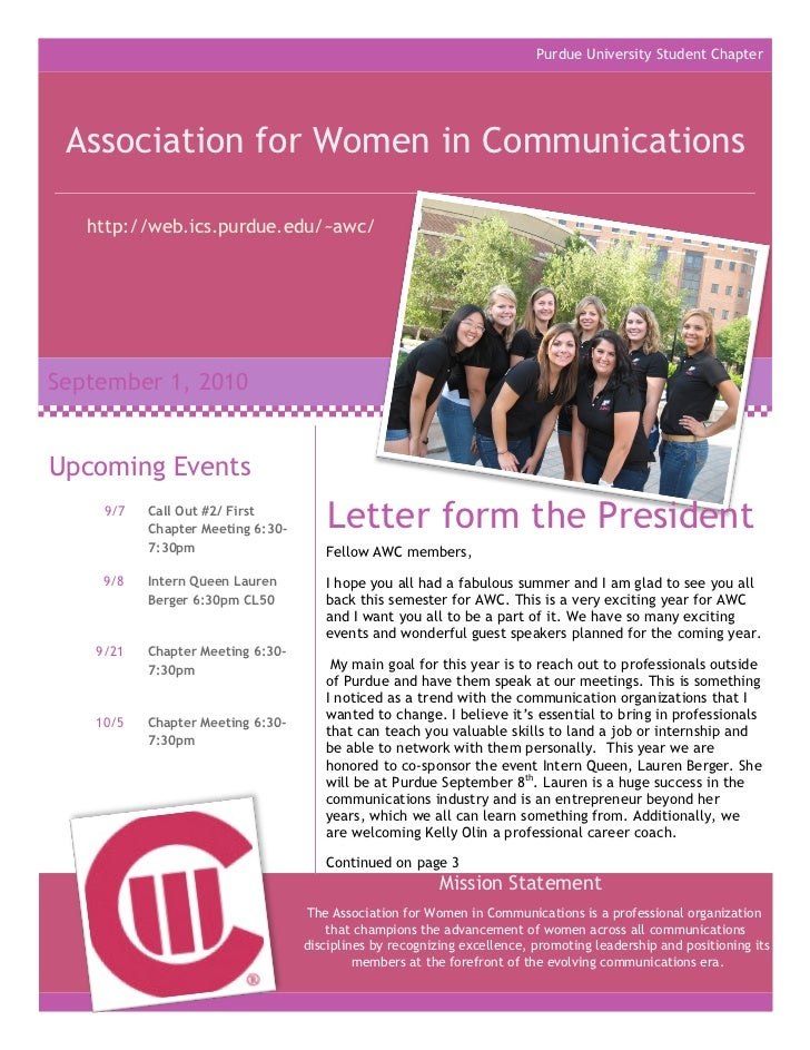Purdue University Student Chapter Association for Women in Communications   http://web.ics.purdue.edu/~awc/September 1, 20...