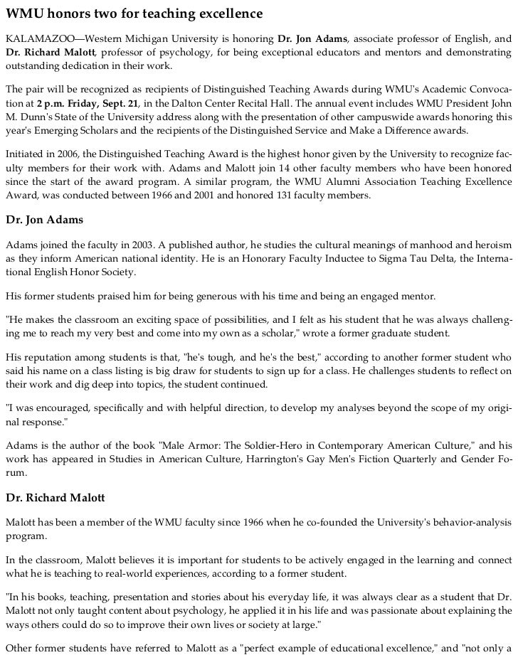 WMU honors two for teaching excellenceKALAMAZOO—Western Michigan University is honoring Dr. Jon Adams, associate professor...