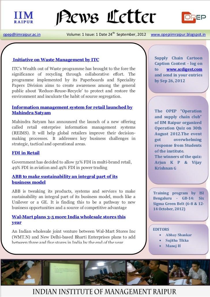 OPEP Newsletter (Vol 1, Issue 1)