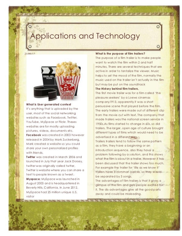Applications and Technology21/09/12                                    What is the purpose of film trailers?              ...