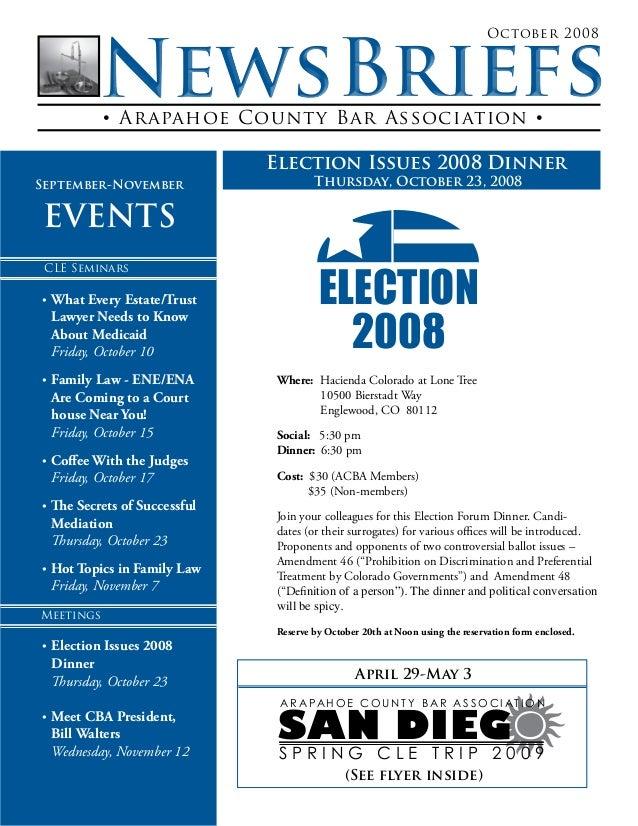 • Arapahoe County Bar Association • October 2008 SAN DIEG S P R I N G C L E T R I P 2 0 0 9 A R A PA H O E C O U N T Y B A...