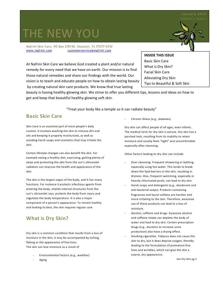 5000625-190500January 2010                Volume 1, Issue 1The New You<br />Nafrini Skin Care, PO Box 270192, Houston, Tx ...