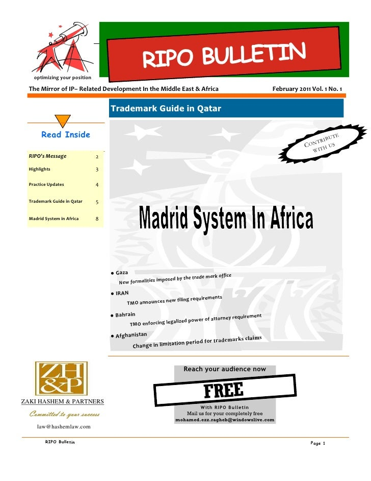 RIPO BULLETIN    optimizing your position  The Mirror of IP– Related Development In the Middle East & Africa              ...