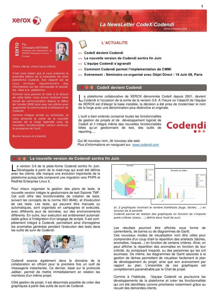 Newsletter Codendi 2eme trimestre 08