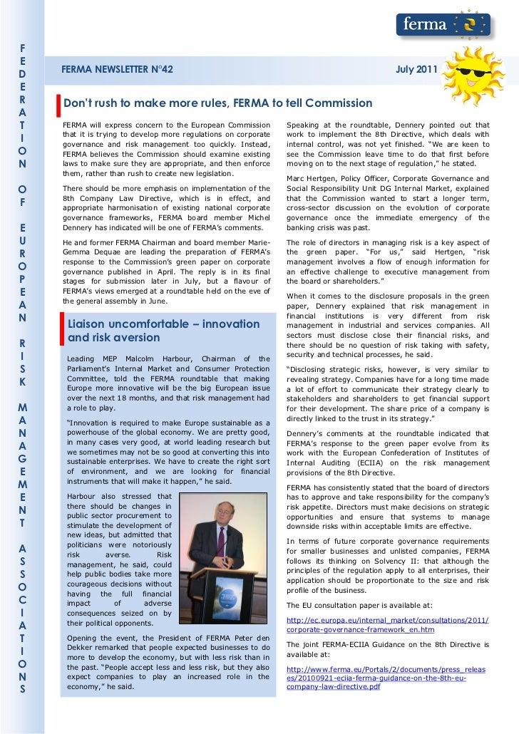 FE    FERMA NEWSLETTER N°42                                                                         July 2011DER   Don't r...