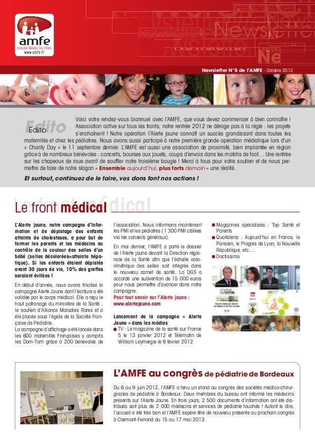 Newsletter 5 de l'AMFE - Octobre 2012