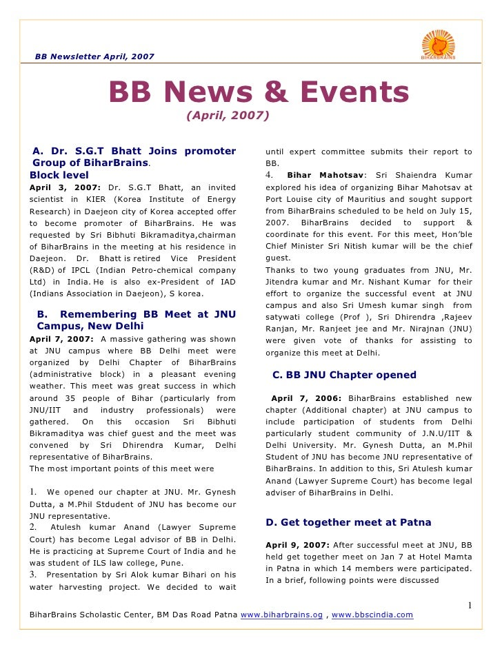 BB Newsletter April, 2007                       BB News & Events                                      (April, 2007)   A. D...