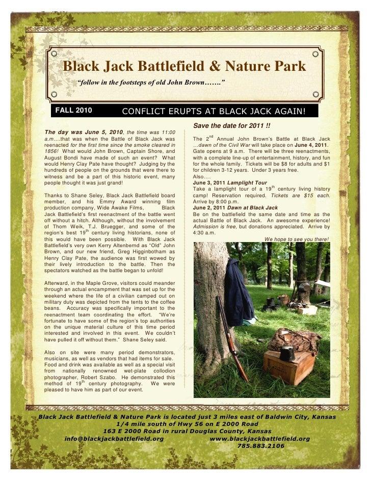Fall 2010 Newsletter Black Jack Battlefield