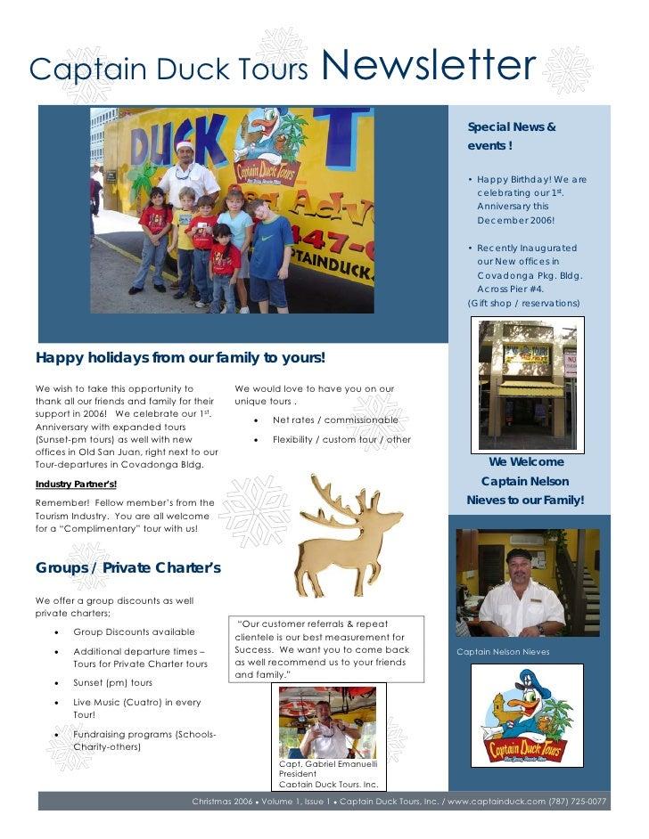 Newsletter Captain Duck Tours Dec 06