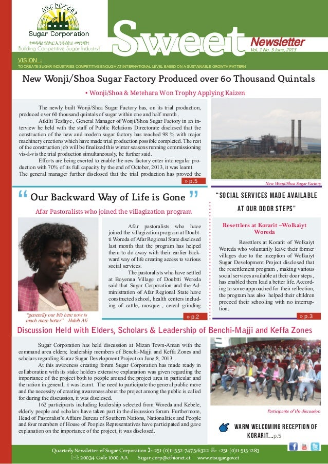 Sweet Quarterly Newsletter of Sugar Corporation :+251-(0)11-552-7475/6322 : +251-(0)11-515-1283 : 20034 Code 1000 A.A S...