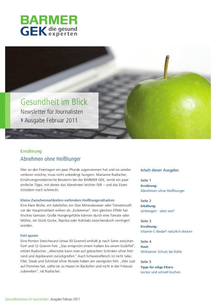 Gesundheit im Blick          Newsletter für Journalisten          › Ausgabe Februar 2011          Ernährung          Abneh...