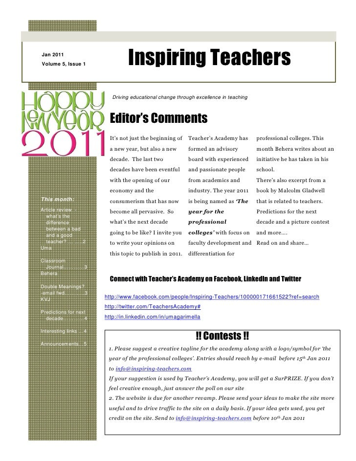 Jan 2011Volume 5, Issue 1               Inspiring Teachers                         Driving educational change through exce...