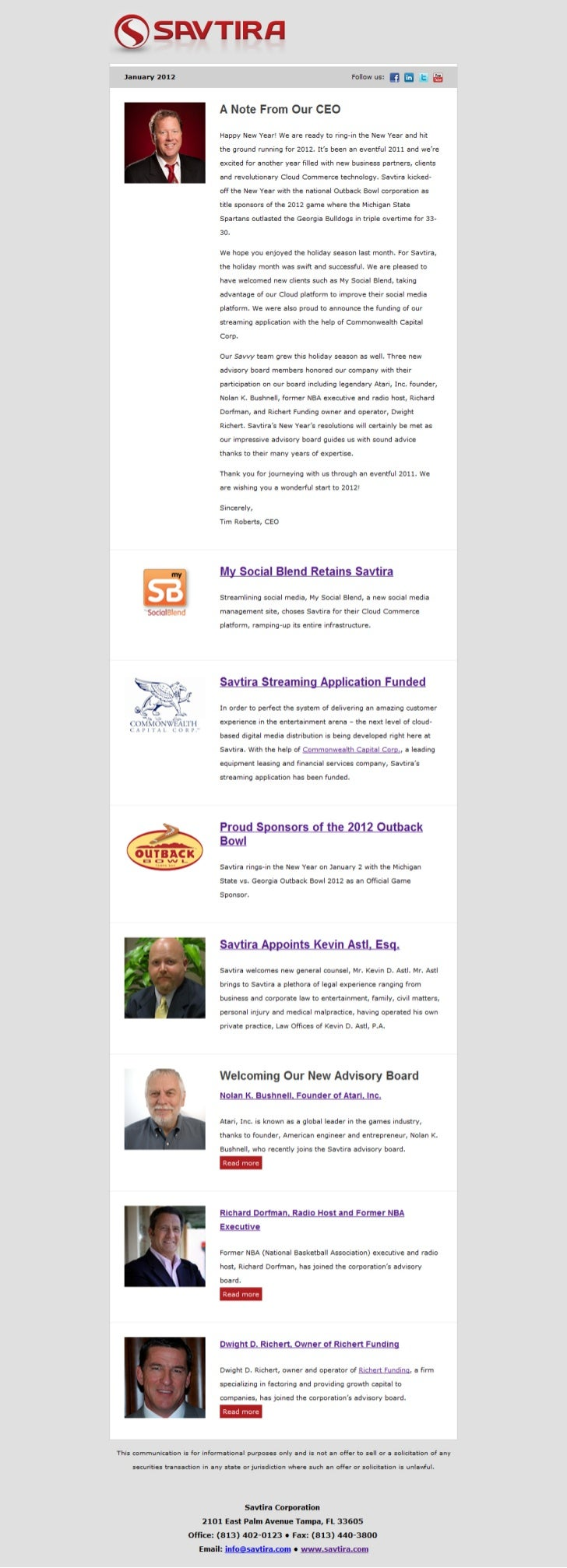 Savtira Newsletter - January 2012