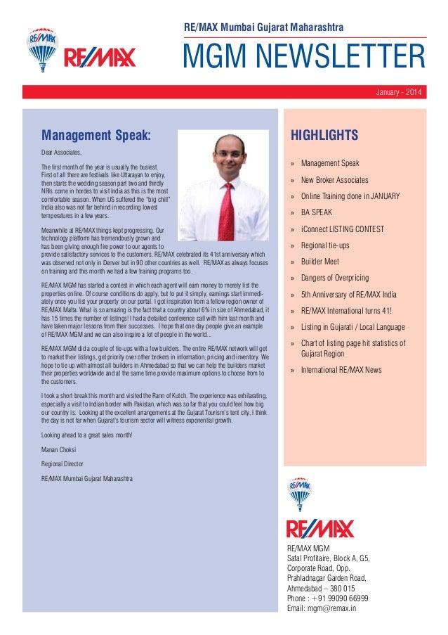 RE/MAX Mumbai Gujarat Maharashtra  MGM NEWSLETTER January - 2014  Management Speak:  HighLIGHTS  Dear Associates, The firs...