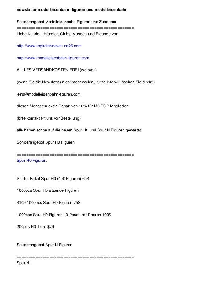 newsletter modelleisenbahn figuren und modelleisenbahn Sonderangebot Modelleisenbahn Figuren und Zubehoer ================...