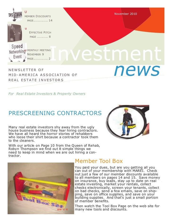 The Investment News:  November 2010