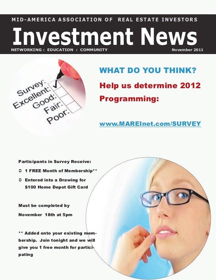 MID-AMERICA ASSOCIATION OF                 REAL ESTATE INVESTORSInvestment NewsNETWORKING : EDUCATION : COMMUNITY         ...