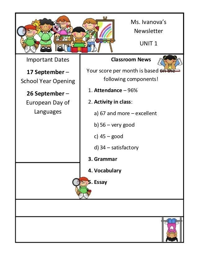 Ms. Ivanova's                                           Newsletter                                               UNIT 1 Im...