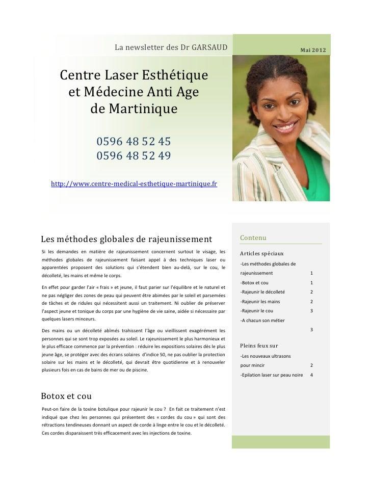 La newsletter des Dr GARSAUD                                                             Mai 2012         Centre Laser Est...