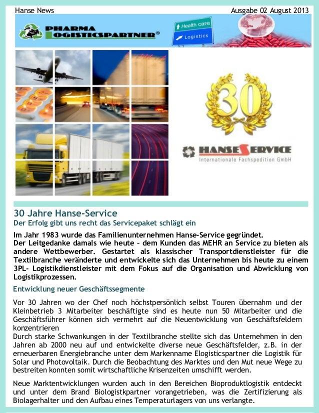 Hanse News  Ausgabe 02 August 2013  30 Jahre Hanse-Service Der Erfolg gibt uns recht das Servicepaket schlägt ein Im Jahr ...