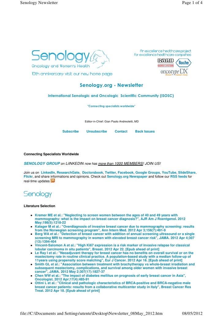 Senology Newsletter - May 8, 2012