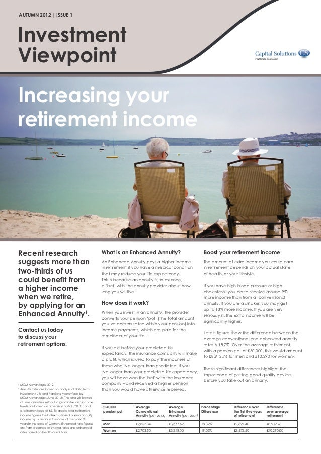 AUTUMN 2012 | ISSUE 1InvestmentViewpointIncreasing yourretirement incomeRecent research                                   ...