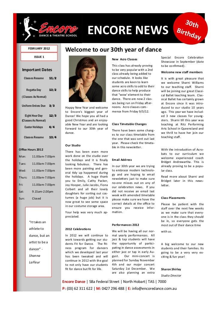 Newsletter 1 2012