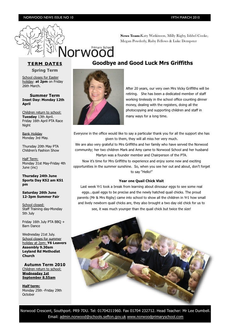 NORWOOD NEWS ISSUE NO 10                                                                      19TH MARCH 2010             ...