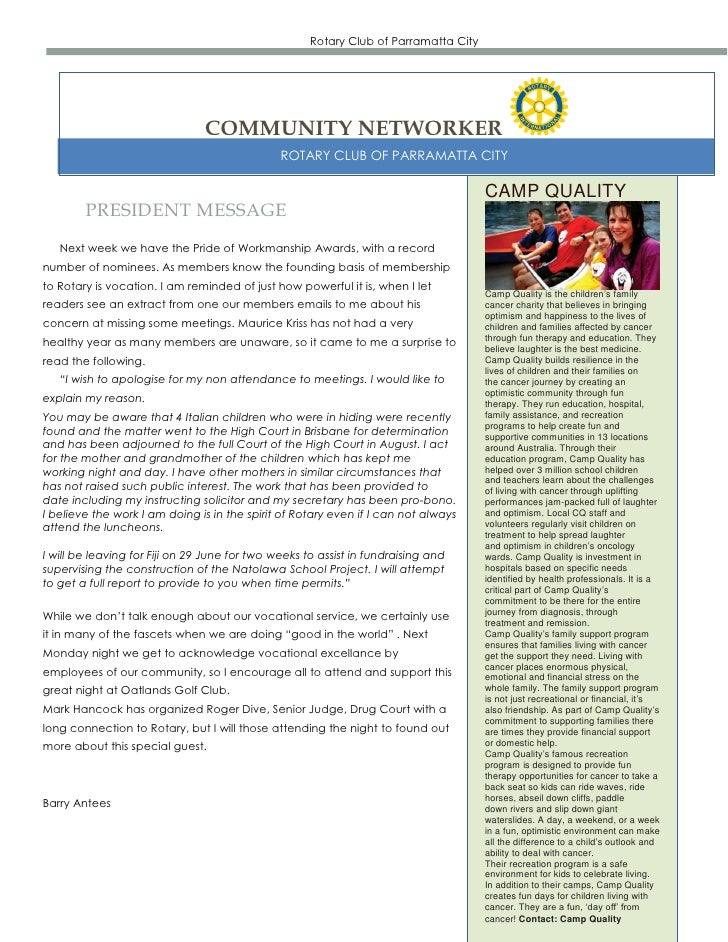 Rotary Club of Parramatta City                                COMMUNITY NETWORKER                                         ...