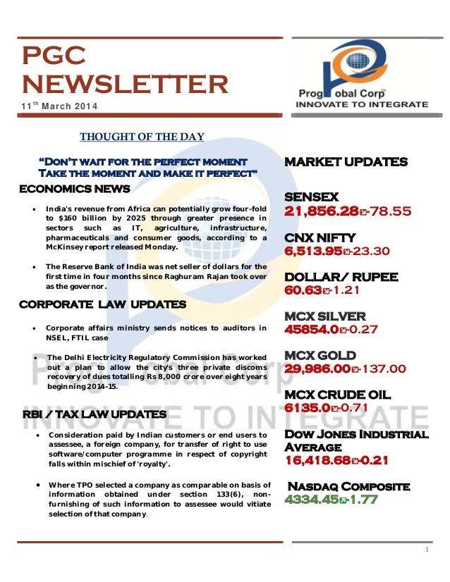 PGC NEWSLETTER 11th March 2014
