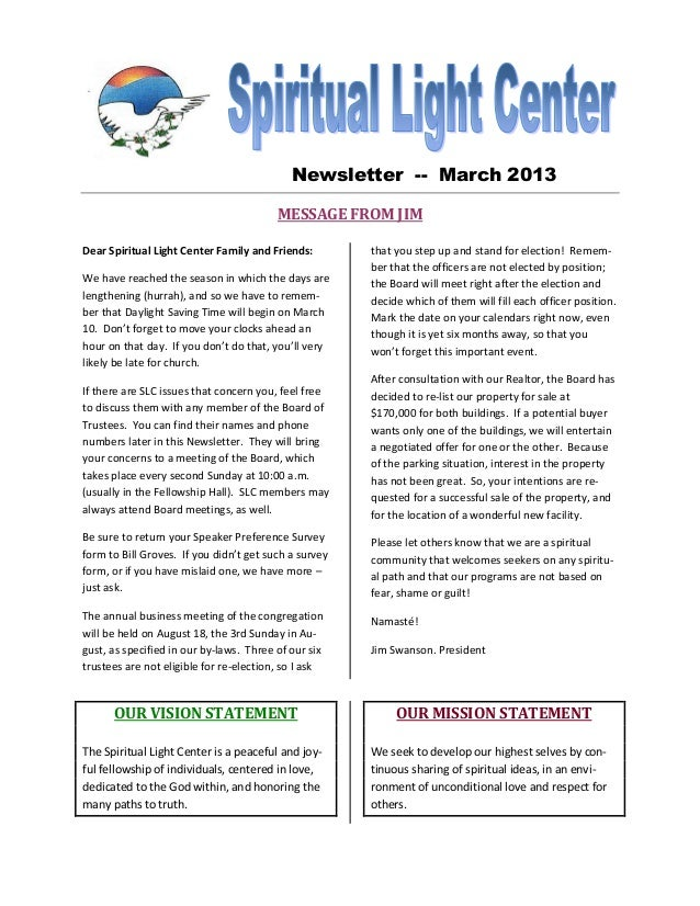 Newsletter -- March 2013                                         MESSAGE FROM JIMDear Spiritual Light Center Family and Fr...