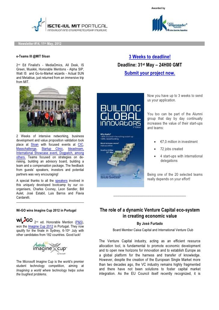Awarded by Newsletter #14, 11th May, 2012e-Teams III @MIT Sloan                                                  3 Weeks t...